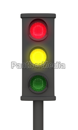 yellow red 3d traffic light black