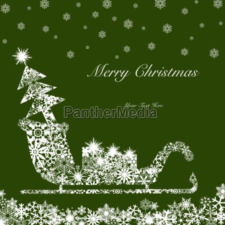 christmas santa sleigh with tree and