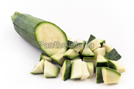 half zucchini and its pieces