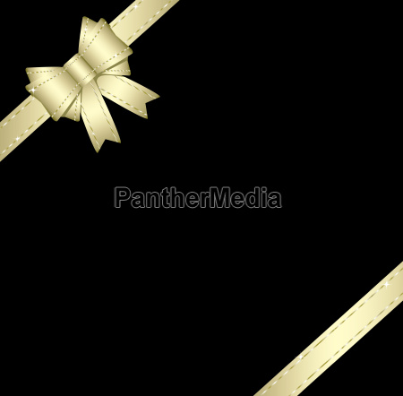 golden gift ribbon and bow isolated