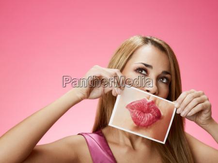 woman with big kiss
