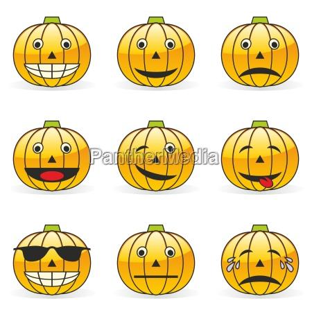 illustration of pumpkin emoticons