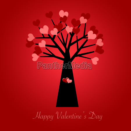 valentines day tree with red and