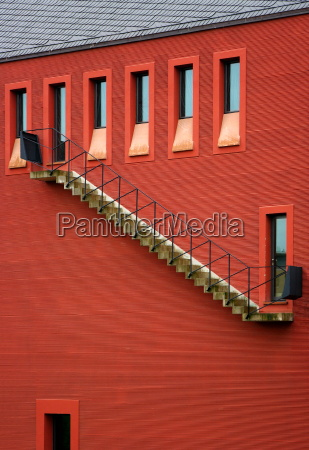 stairway in red at home