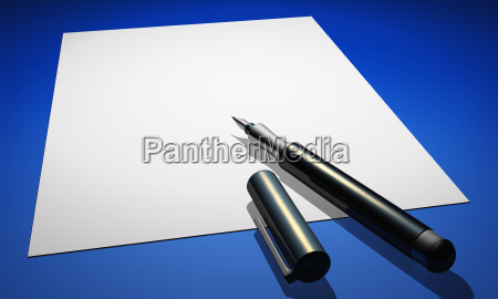 contract with fountain pen on blue