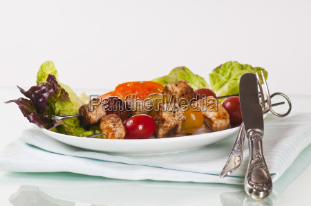 shish kebab with onions and tomatoes