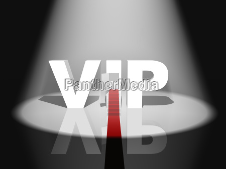 3d vip text with red carpet