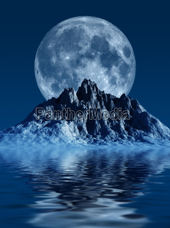 mountain with moon