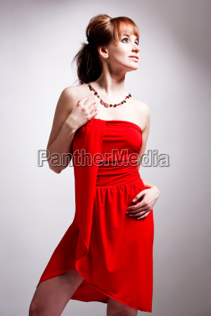 fashion studio photography sexy redheaded necklace