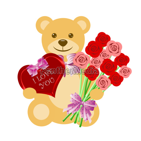 teddy bear with rose bouquet and