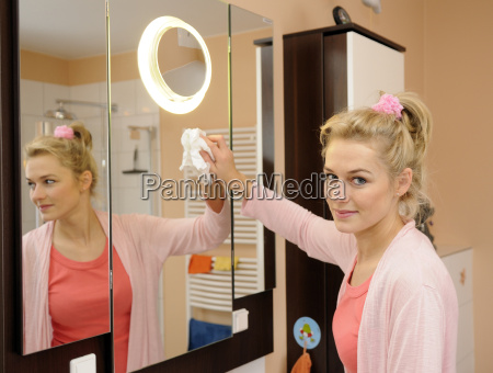 housewife dressing mirror in the bathroom