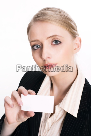 businesswoman is holding a business card