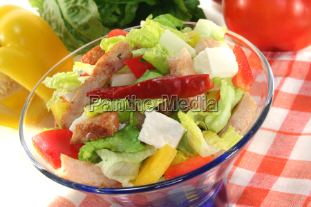 mixed salad with turkey strips