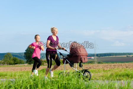 sports in family jogging with