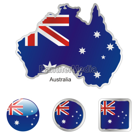 australia map and internet buttons