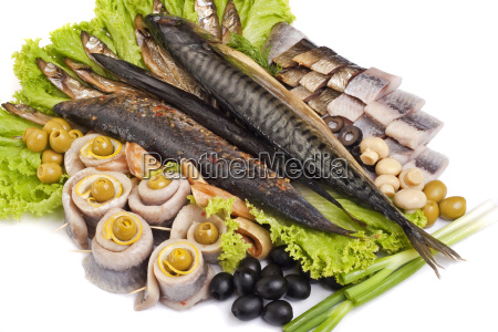a fish set with vegetables