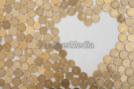 coins with heartshaped textfield