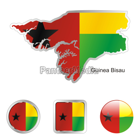 guinea bisau map and internet buttons