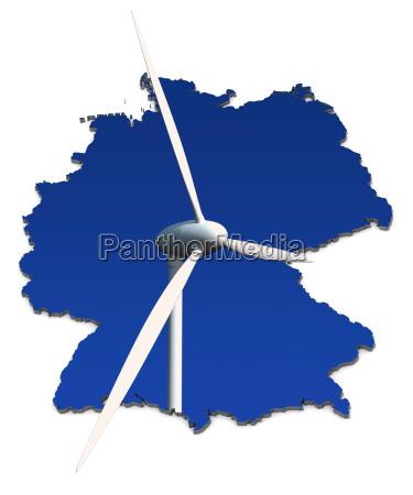 wind turbine in front of blue