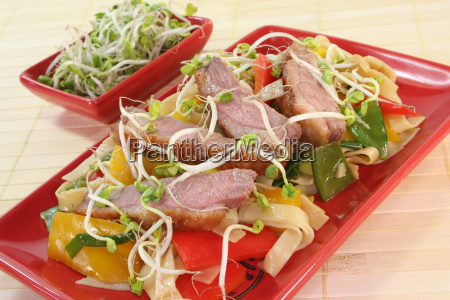 duck breast with fried noodles