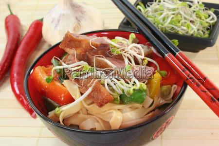 noodles duck vegetable poultry food dish