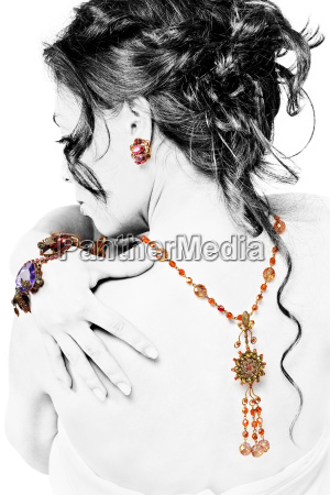 posing model with jewellery