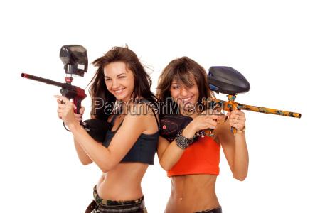 girls playing paintball