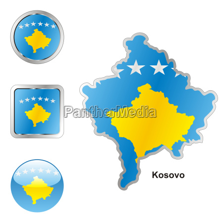 kosovo map and internet buttons