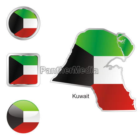 kuwait map and internet buttons