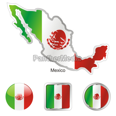 mexico map and internet buttons
