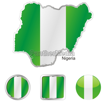 nigeria map and internet buttons