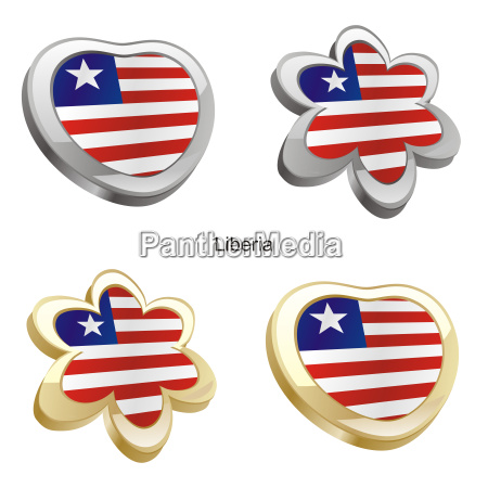 liberia flag heart and flower form
