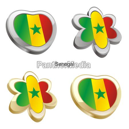 senegal flag heart and flower form
