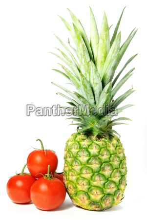 isolated tomatoes and pineapple pattern