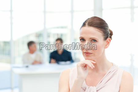 serious businesswoman looking at the camera