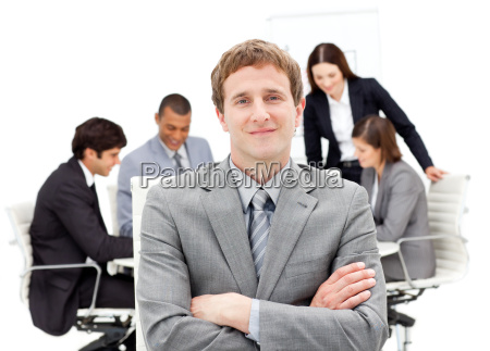 caucasian businessman sitting in front of
