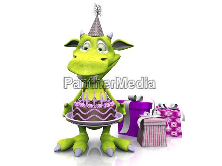 cute cartoon monster holding birthday cake