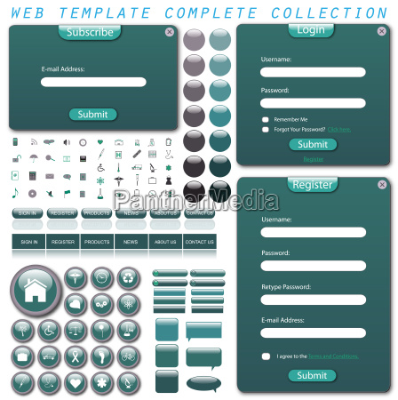complete web template with forms bars