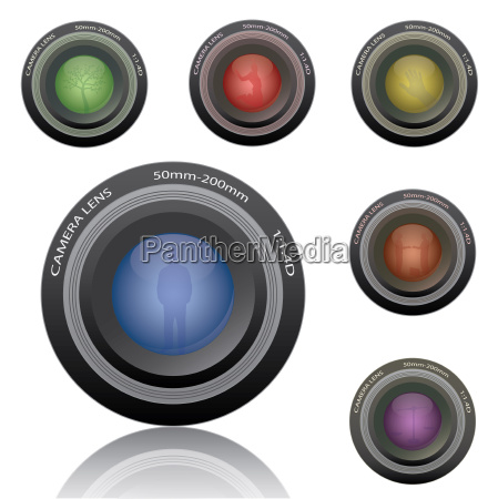 image of colorful camera lenses isolated