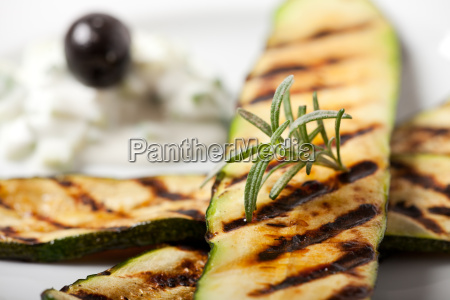 grilled zucchini with rosemary leaf