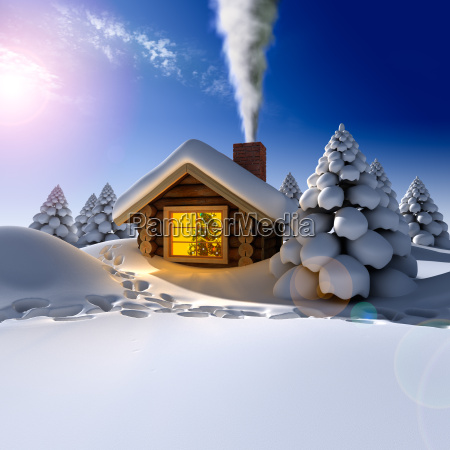 a small wooden house in a