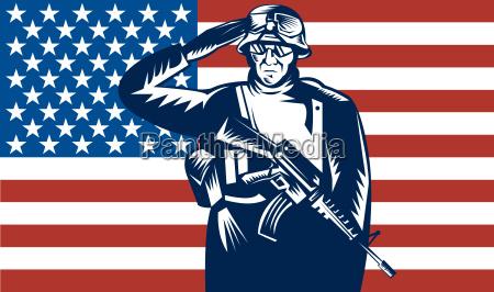 us military serviceman saluting flag
