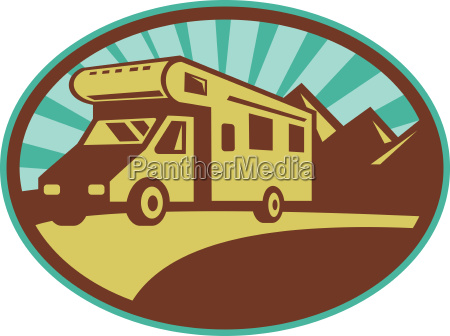 camper van travel with mountains and