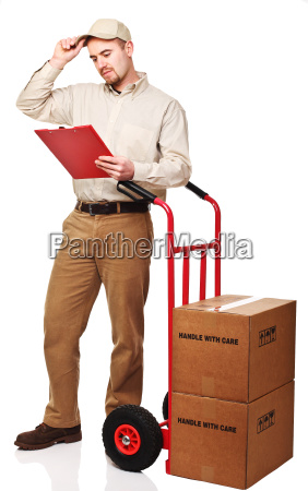 delivery man at work isolated on