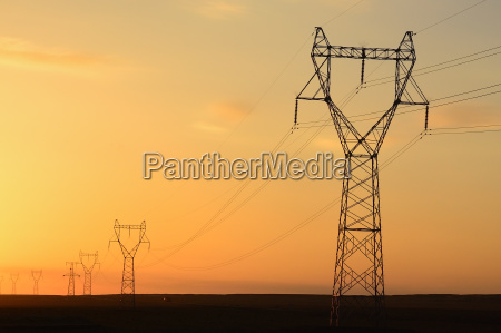 telegraph pole at sunset in the