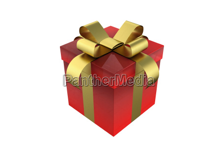 red gift box and gold ribbon
