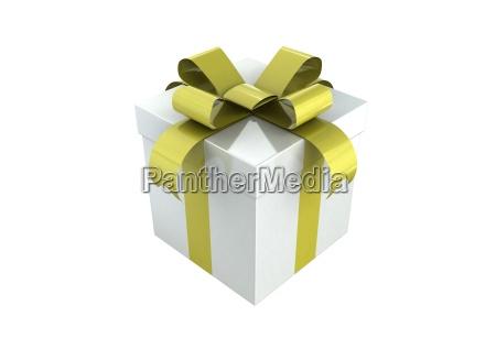 gift box white and gold ribbon