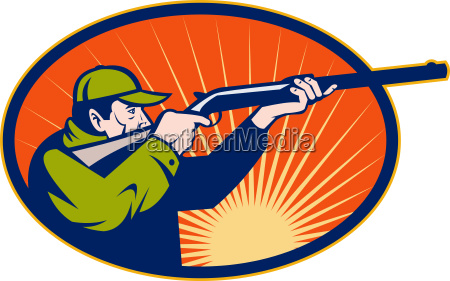 hunter aiming rifle shotgun side view