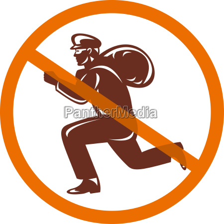 sign of no burglar thief running