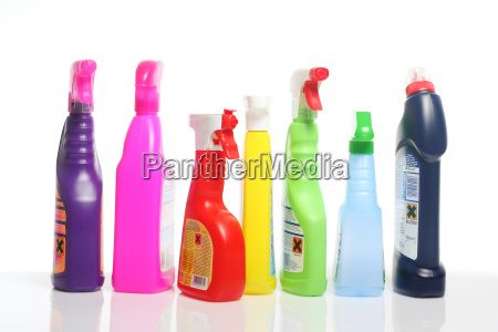 many colorful cleaning supplies in plastic